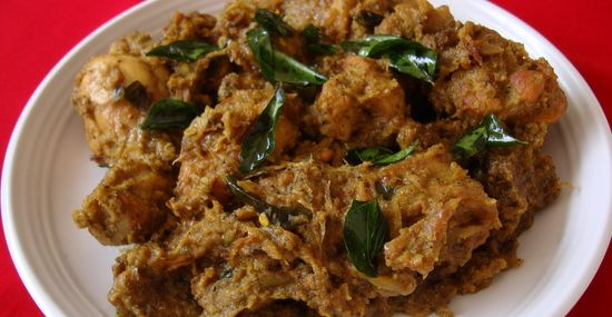 Today's chicken roast recipe is a huge hit at my home as well as with friends. Makes for a wonderful starter or side dish with rotis. I found this recipe at Varsha's blog which has some authentic Kerala style non-vegetarian fare that I have bookmarked to try.