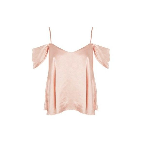 Topshop Satin Rouleau Cold Shoulder Camisole Top (€7,87) ❤ liked on Polyvore featuring tops, blush, satin top, open shoulder tops, camisole tops, cold shoulder tops and pink cami top