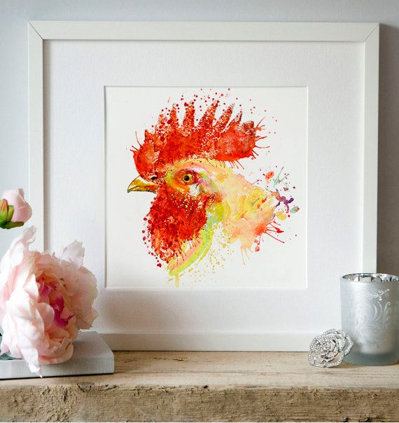 Rooster Head Watercolor portrait Kitchen decor Bird by Artsyndrome