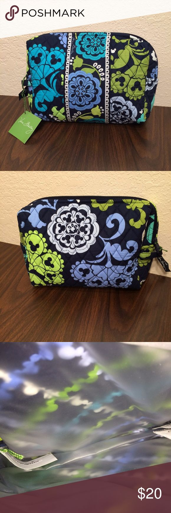 Vera Bradley Where's Mickey Large Cosmetic NWT Vera Bradley Disney Large Cosmetic Bag! It is lined and has a small loop to attach it to other bags. Zippered closure. This comes from a smoke free and pet free home! Vera Bradley Bags Cosmetic Bags & Cases