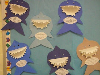 Sharks with paper plate jaws. Would be cute to go with persuasive writing on why sharks are/not scary.