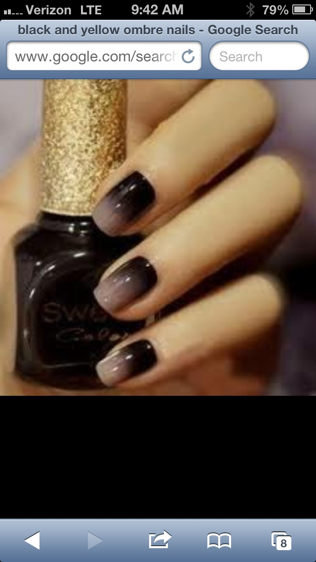 Black and beige ombré nails