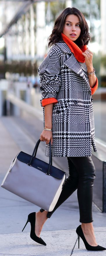 Plaid Coat | Pop of Orange.
