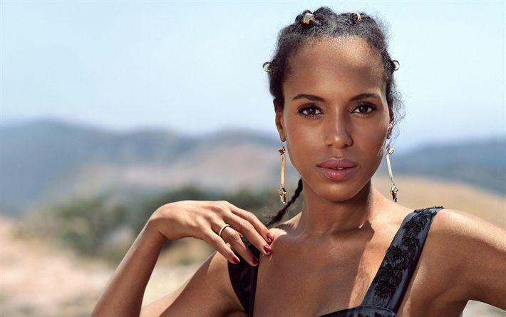 Download wallpapers Kerry Washington, portrait, black dress, make-up, American actress, 4k