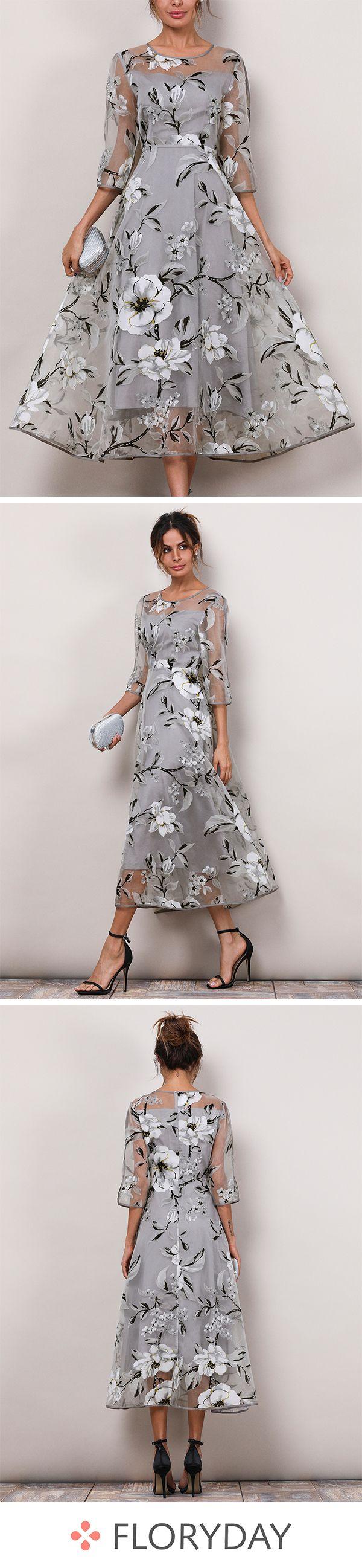 Floral 3 4 Sleeves Midi X Line Dress Fashion Dresses Floryday Dresses Guest Dresses [ 2595 x 600 Pixel ]