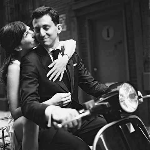Vespa engagement shoot idea. So adorable. You could even have the wedding date hanging off the back.