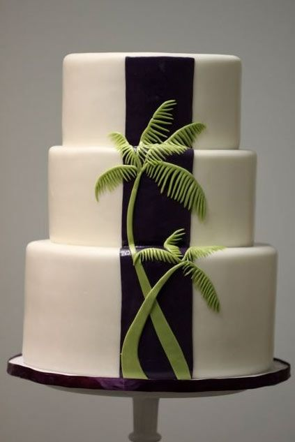 Tiered White Cake Featuring Green Fondant Palm Tree
