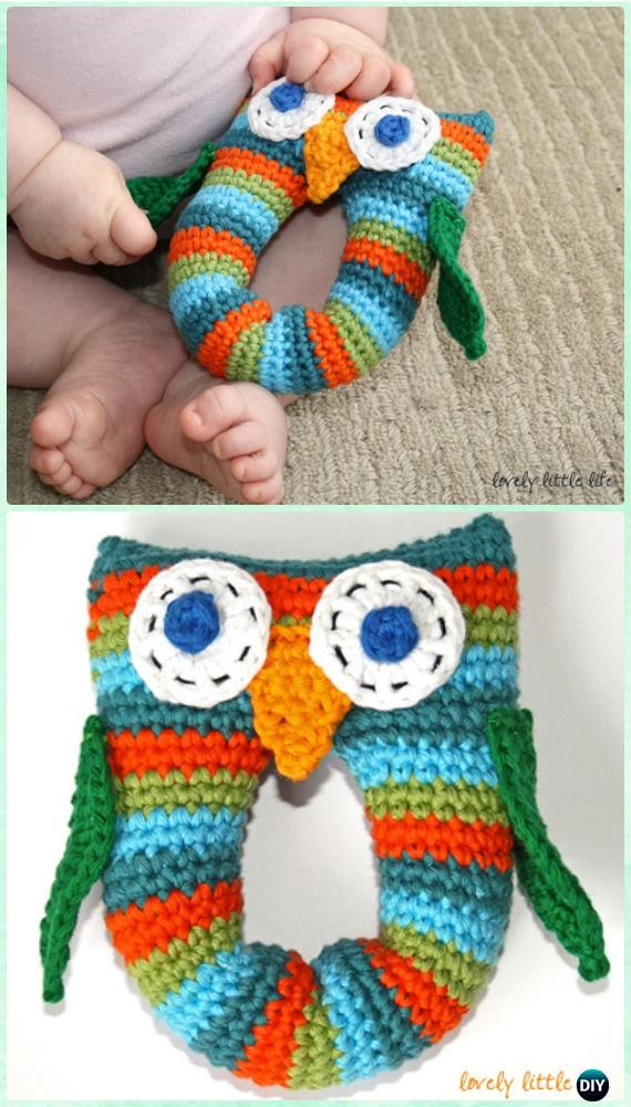 Crochet Stripey Owl Baby Rattle Free Pattern-Amigurumi Crochet Owl Free Patterns