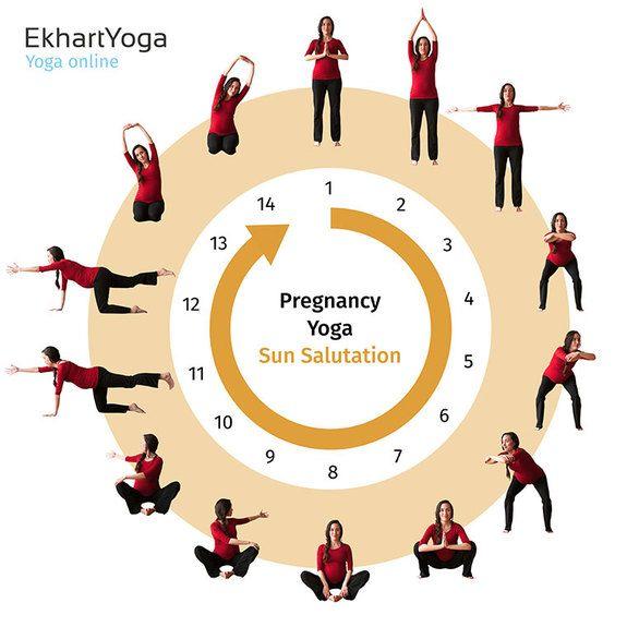 Pregnancy Yoga Sun Salutation Ekhart Yoga. Follow a whole online program of prenatal yoga classes