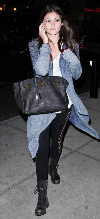 Kylie Jenner wearing Steve Madden Troopa Boots Hermes Birkin Bag ...