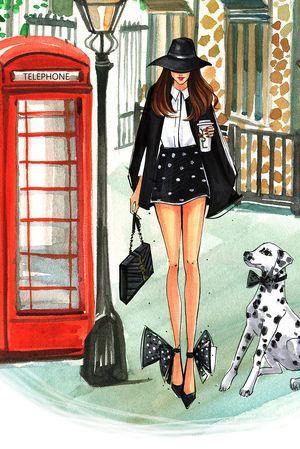 London fashion week illustration by Houston fashion illustrator Rongrong DeVoe