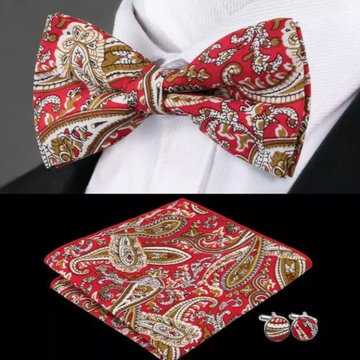 "This is a brand new silk bow tie set. Set includes coordinating bow tie, cuff links and pocket square (handkerchief). Bow tie is 2.5"".    Also available on our website at www.UyleesBoutique.com in our ""Men's Bowties"" Section.    Please note this item requires three (3) weeks to ship. Please take shipping time into consideration prior to placing your order.     This item is available for International Shipping.  