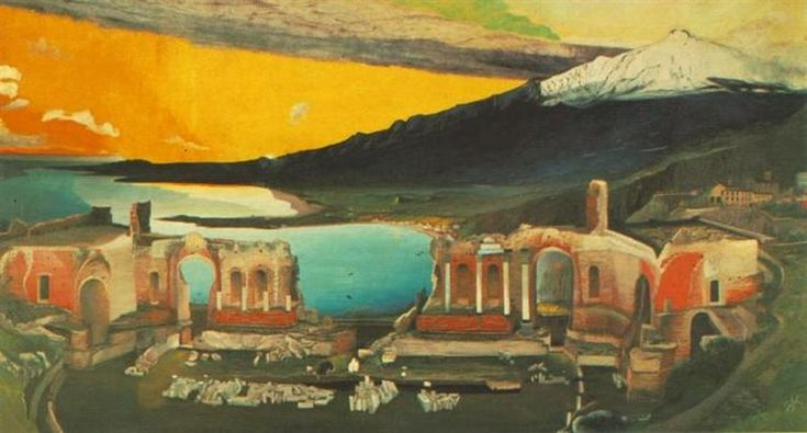 Ruins of the Ancient Theatre of Taormina, 1905 by Tivadar Kosztka Csontvary. Expressionism, Symbolism. landscape