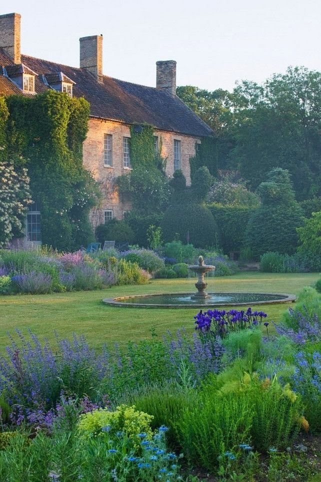 typical English garden - green and purple palette