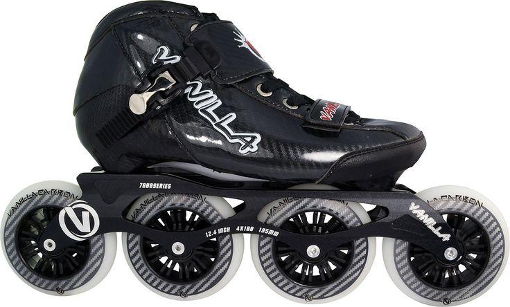 Competitive Inline Speed Skates Black Vanilla Carbon 4X100mm Wheels Size 1-13