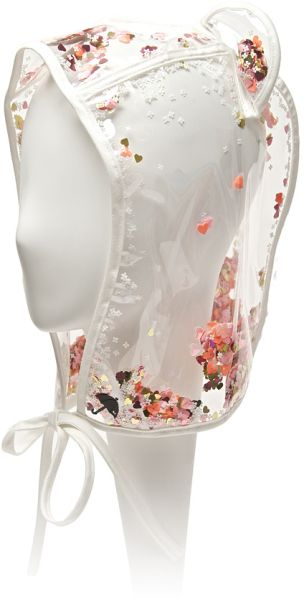 This one is so cool! Sequins in the plastic  MAISON MICHEL Transparent Lara Confetti Rain Hood