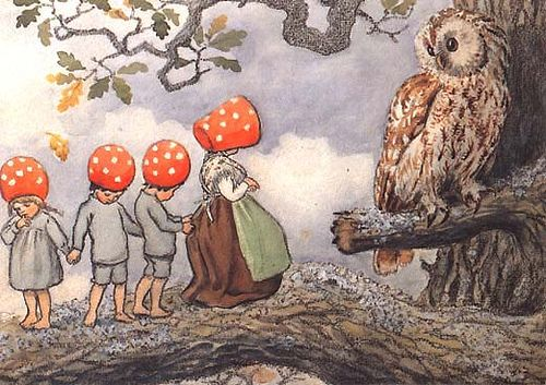 Mushroom Children and Teacher Owl by Elsa Beskow. From the book, Children of the Forest.
