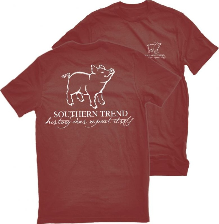 Southern Trend Pig Shirt In Crimson Red