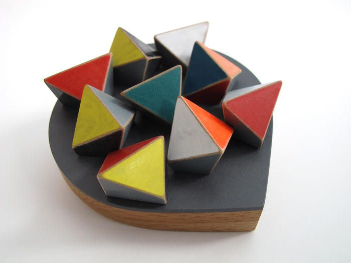 Katy Hackney: Drop shaped brooch with geometric shapes. 2013. Bamboo, colorcore, boxwood, silver, paint