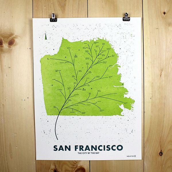 San Francisco Leaf Map Poster