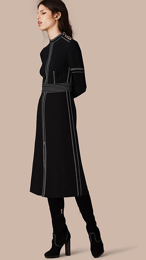 Black Regimental Wool Silk Shift Dress - Image 1