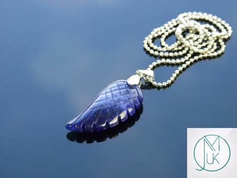 Sodalite Gemstone Angel Wing Pendant Necklace
