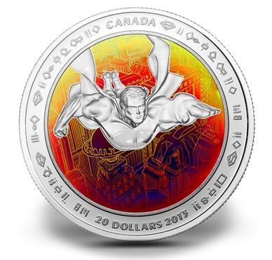 2013, 1 oz $20 Fine Silver Hologram Coin - Superman™ & Metropolis - Mintage: 10,000