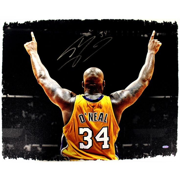 Shaquille ONeal Signed Lakers Arms Up in Gold 20x24 Canvas (Getty 53342105) - Lakers Legend Shaquille ONeal personally hand-signed this incredible 20x24 canvas. Shaq was without question one of the most dominant players of his generation. After being selected 1st overall by the Orlando Magic in the 1992 NBA Draft ONeal won the Rookie of the Year Award in his first season. Over the course of his illustrious career ONeal went on to be a 3x NBA Finals MVP a 15x All-Star 3x All-Star MVP and had…
