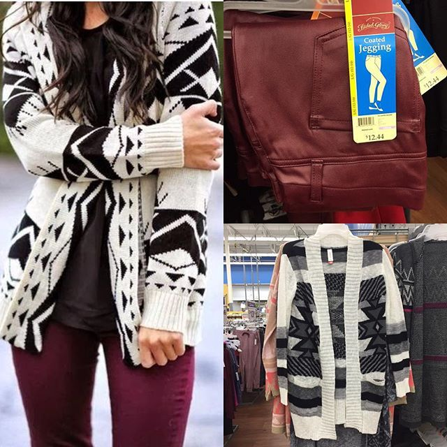 Here's another Pinterest-inspired look you can put together with Walmart finds! $12.44 for burgundy jeggings, $14.88 for cardigan (search No Boundaries Aztec Cardigan online). #wearwalmart #whoawaitwalmart
