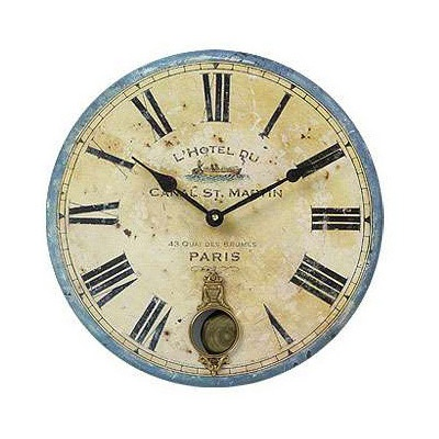"Timeworks Clocks French Hotel 13"" Wall Clock with Internal Pendulum"