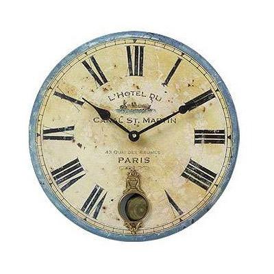 "Timeworks Clocks French Hotel 13"" Wall Clock with Internal Pendulum"