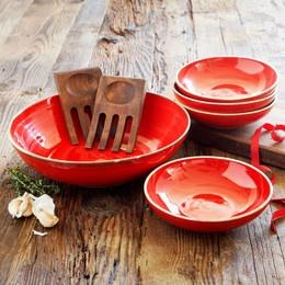 Sur La Table Red Italian Pasta Bowl Set.