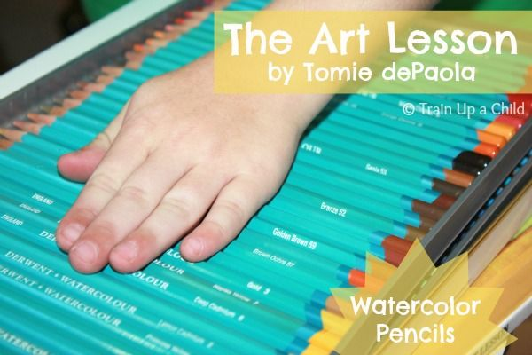 The Art Lesson by Tomie dePaola {November Virtual Book Club Blog Hop} - Introducing watercolor pencils to children and learning basic principles of art taken from the book.