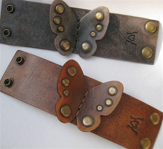 Black Butterfly Leather Bracelet Cuff Leather Boho by por karenkell
