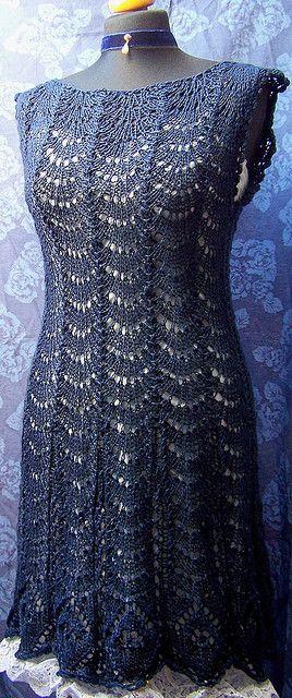 Ravelry: midnight blue lace dress pattern by Baerbel Hurst