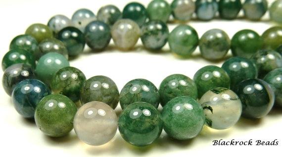 8mm Moss Agate Gemstone Beads  25 pk  Green by BlackrockBeads, $3.15