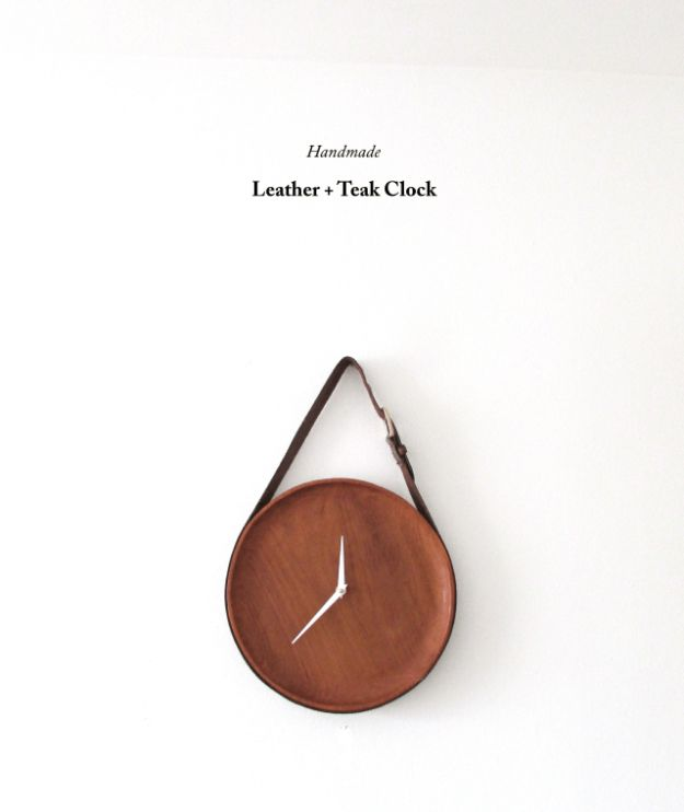 Best DIY Gifts for Neighbors - Handmade Leather And Teak Clock - Cute Mason Jar Crafts, Gift Baskets and Cheap and Easy Gift Ideas to Make for Friends - Do It Yourself Projects You Can Sew and Craft That Make Awesome DIY Gifts and Homemade Christmas Presents http://diyjoy.com/diy-gifts-friends-neighbors