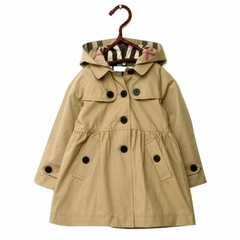 Girl's Hooded Button-Down Swing Trench Coat in Khaki