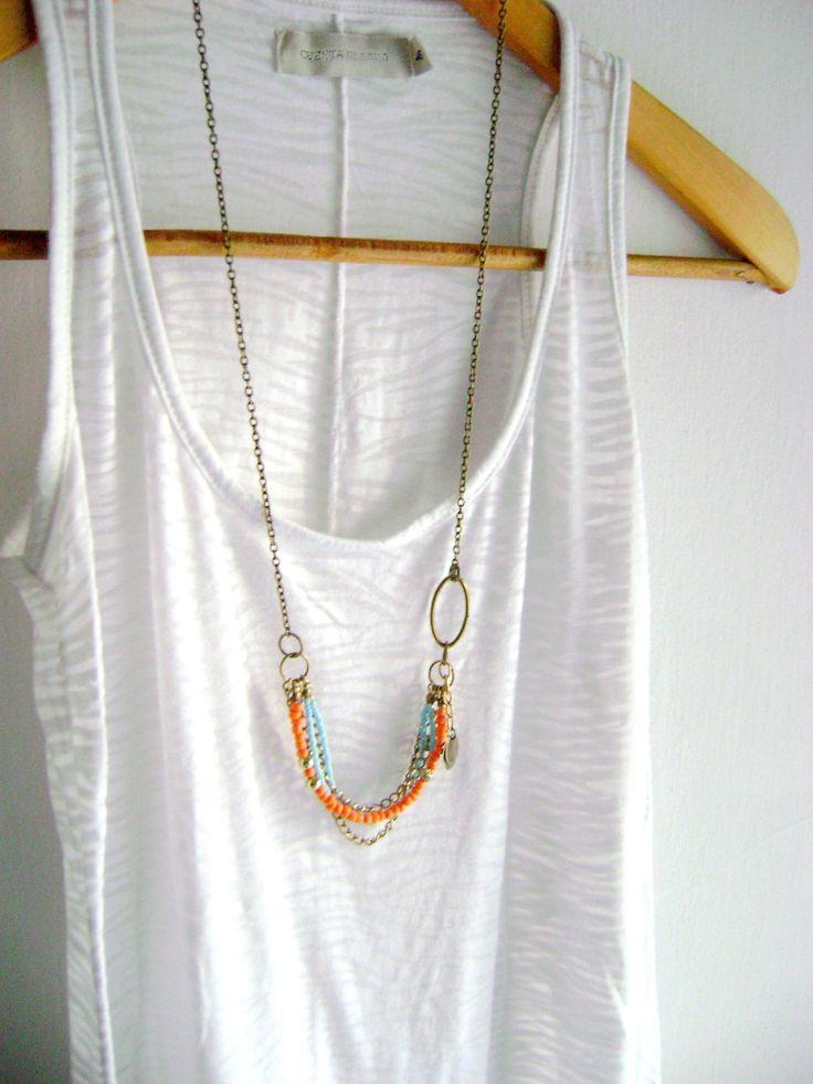 Delighted - boho chic orange turquoise golden antique bronze long necklace. $37.00, via Etsy.