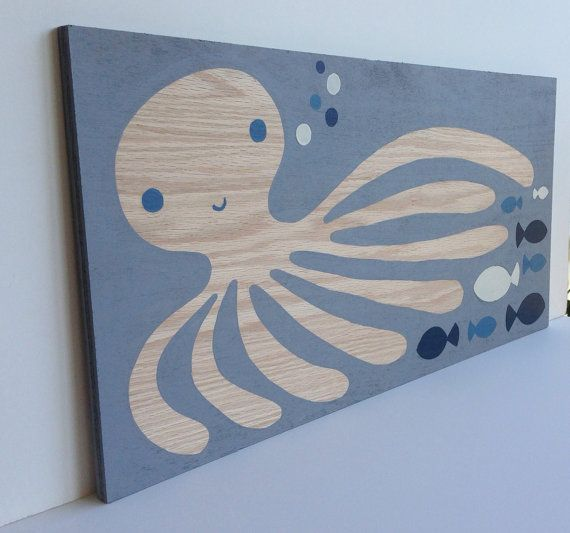 Hand Painted Gray Blue and White Nautical Nursery Art,  Nautical Kids Decor, Nautical Nursery, Octopus Painting, Kids Bathroom Art, Baby Art...