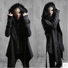 Absatz gothic dunklen Nachtclub japanische herrenjacken asymmetrische wolle mantel mantel Flut männlichen(China (Mainland))