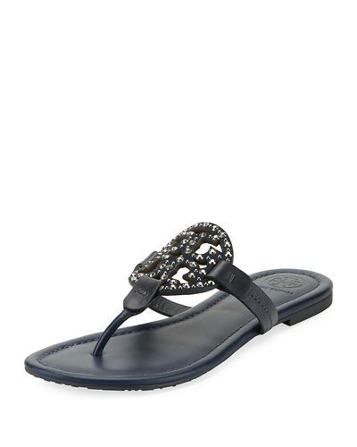 8364394061a64a TORY BURCH MILLER MEDALLION EMBELLISHED FLAT SANDAL.  toryburch  shoes