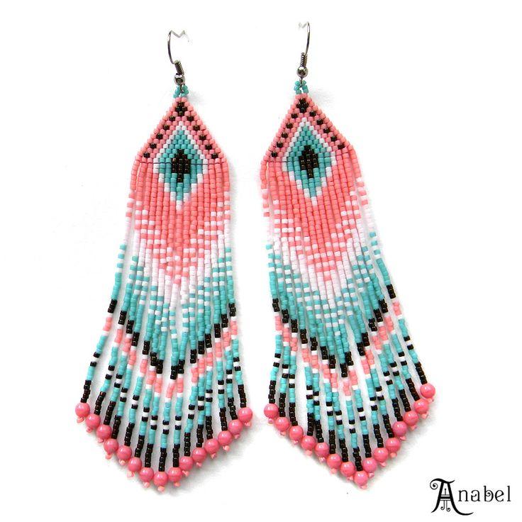 Gentle long earrings from beads