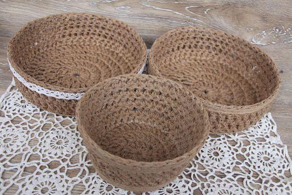 Round knitted basket of natural jute twine Set of 3 decorative baskets Crochet baskets handmade Chunky knit basket Easter basket