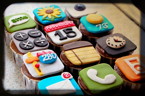 iPhone App Cupcakes. Would be cute for a gathering of teen girls.