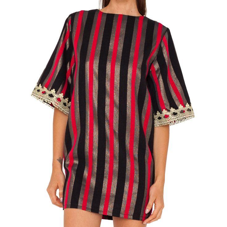 Mini abito a righe con collo a V sul retro e con motivi orientali. Art. GL-001