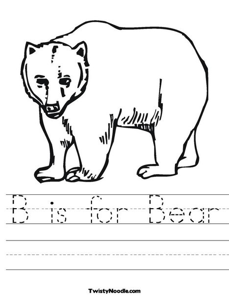 B is for bear worksheet from twistynoodle com kids coloringcoloring pagesbear