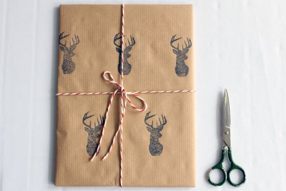 Christmas wrapping paper | Gift paper | Hand printed kraft paper | Stamped paper | Black deer stamp | 27.5x39.5'' | 70x100cm