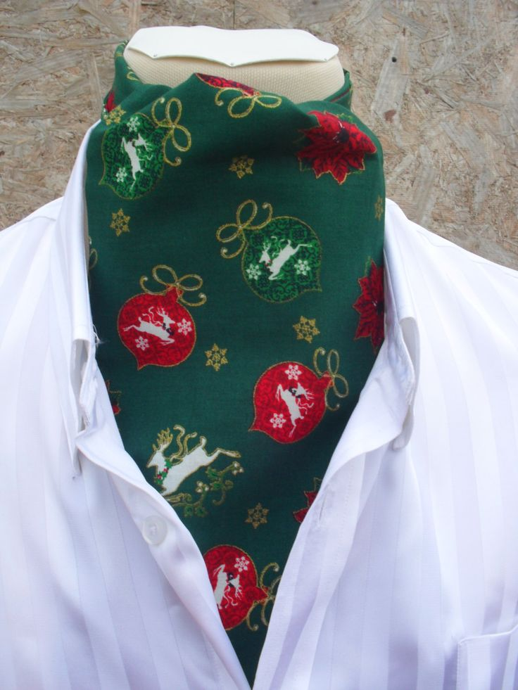 Green Christmas / Festive / Holiday / Xmas Cravat with baubles, white deer and gold snow flakes. Item No. LDC0126 by LDCcreations on Etsy