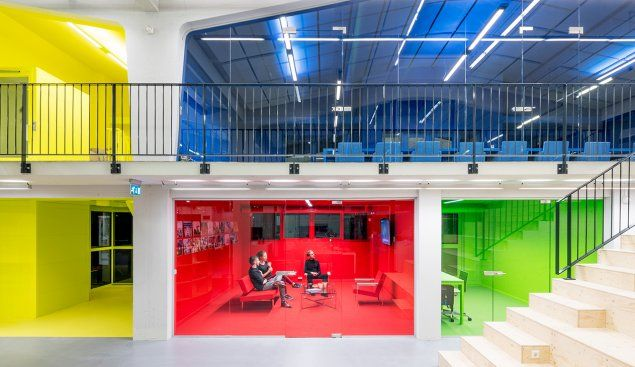 Color by number  Dutch architecture firm MVRDV designed a wing of its headquarters to resemble a doll house. The rooms are color-coded by purpose, from the red TV lounge to the dark blue meeting room. IMAGE: Photography: Ossip van Duivenbode